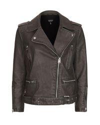 TOPSHOP | Black Oversized Faux Leather Biker Jacket | Lyst