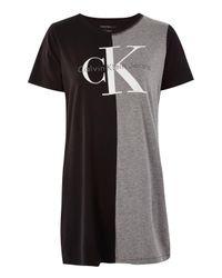 TOPSHOP | Black Colour Block Logo T-shirt By | Lyst