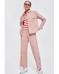 TOPSHOP - Pink Cord Popper Pants By Norr - Lyst