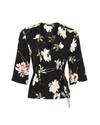 TOPSHOP   Black Floral Wrap Blouse   Lyst