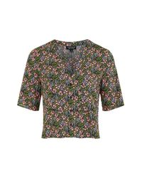 TOPSHOP - Blue Ditsy Floral Cropped Shirt - Lyst
