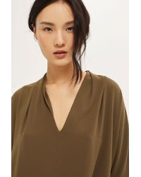 TOPSHOP - Natural Tie Side T-shirt - Lyst