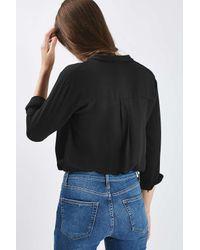TOPSHOP - Black Long Sleeve Drape Body - Lyst