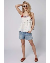 TOPSHOP - Red Embroiderd Washed Sun Top - Lyst