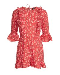 TOPSHOP | Red Floral Print Ruffle Playsuit | Lyst