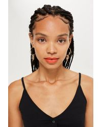 TOPSHOP - Metallic Cross Charm Hoop Earrings - Lyst