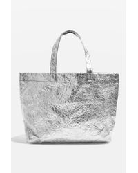 TOPSHOP | Sally Metallic Shopper Bag | Lyst