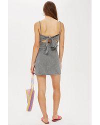 TOPSHOP - Yellow Petite Gingham Mini Slip Dress - Lyst
