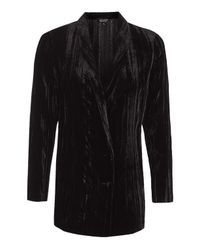 TOPSHOP | Black Pleat Velvet Blazer | Lyst