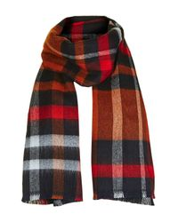 TOPSHOP | Blue Check Mix Scarf | Lyst