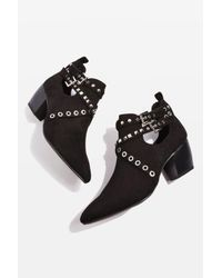 TOPSHOP - Black Kas Western Ankle Boots - Lyst