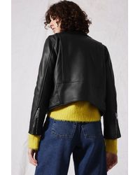 TOPSHOP - Black Belted Leather Biker Jacket By Boutique - Lyst