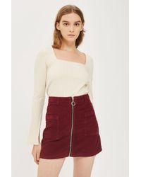 7fedd5d191 Lyst - TOPSHOP Petite Moto Cord Zip Skirt