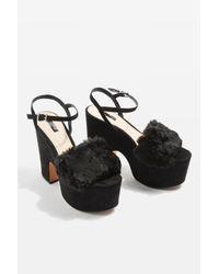 TOPSHOP | Black Lash Faux Fur Sandals | Lyst