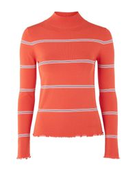 TOPSHOP | Red Margot Funnel Neck Top By Unique | Lyst