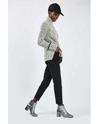 TOPSHOP - Black Petite Raw Hem Straight Jeans - Lyst