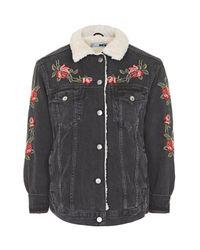 TOPSHOP | Black Petite Rose Embroidered Borg Jacket | Lyst