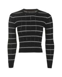TOPSHOP | Black Petite Stripe Crop Knitted Jumper | Lyst