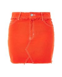 TOPSHOP | Moto Red Denim Mini Skirt | Lyst