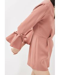 TOPSHOP - Pink Petite Tie Sleeve Playsuit - Lyst