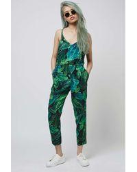 TOPSHOP - Blue Petite Palm Print Jumpsuit - Lyst