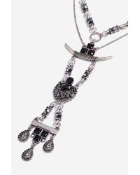 TOPSHOP - Black Horn Y-necklace - Lyst
