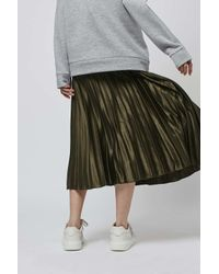 TOPSHOP - Green Satin Pleat Ankle Grazer Skirt - Lyst