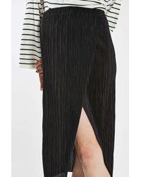 TOPSHOP - Black Plisse Wrap Midi Skirt - Lyst