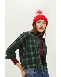 TOPSHOP - Red Pom Intarsia Beanie - Lyst