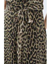 TOPSHOP - Brown Tall Leopard Wrap Maxi Dress - Lyst