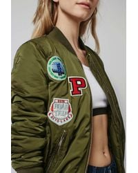 TOPSHOP - Green Tall Badged Ma1 Bomber Jacket - Lyst