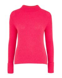 TOPSHOP | Pink Tall Lofty Turnback Cuff Knitted Jumper | Lyst