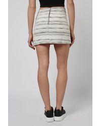 TOPSHOP - White Stripe Boucle Aline Skirt - Lyst