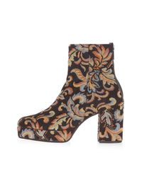 TOPSHOP | Brown Margarita Tapestry Ankle Boots | Lyst