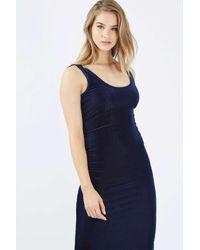 TOPSHOP - Blue Velvet Ribbed Midi Dress - Lyst