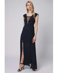 TOPSHOP - Blue Lace Trim Maxi Dress - Lyst