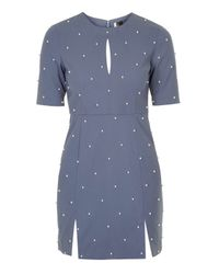 TOPSHOP - Blue Pearl A-line Dress - Lyst