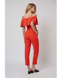 TOPSHOP - Red Cold Shoulder Bardot Jumpsuit - Lyst