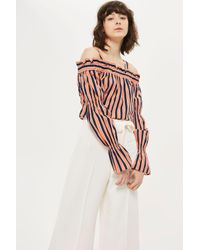 TOPSHOP | White Open Back Wide Leg Trousers | Lyst