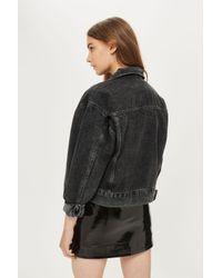 TOPSHOP - Gray Moto Oversized Cropped Jacket - Lyst