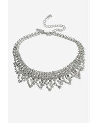 TOPSHOP - Metallic Princes Crystal Choker Necklace - Lyst