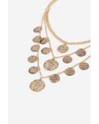TOPSHOP - Metallic multi Coin Layer Necklace - Lyst