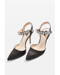 TOPSHOP - Black Gem Embellished Satin Court Shoes - Lyst