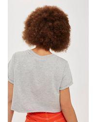 TOPSHOP - Gray Petite Crop Roll Back T-shirt - Lyst