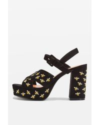 TOPSHOP | Yellow Marigold Embroidery Platform Sandals | Lyst