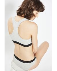 TOPSHOP - Gray Branded Crop Top Bra - Lyst