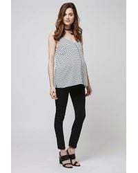 TOPSHOP - Black Maternity Stripe Strappy Cami - Lyst