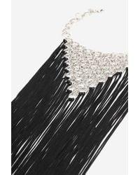 TOPSHOP - Black Tassel Link Statement Collar Necklace - Lyst