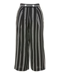 TOPSHOP - Black Broken Stripe Culottes - Lyst