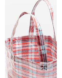TOPSHOP - Red Marty Check Unlined Tote Bag - Lyst